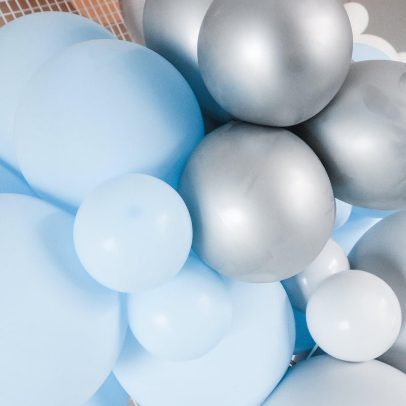 Balloon Garland Kit - Pastel Blue , Grey & Silver - Balloonies Studio