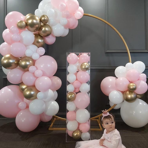 Balloon Garland Kit Pastel Pink ,White & Gold Chrome - Balloonies Studio