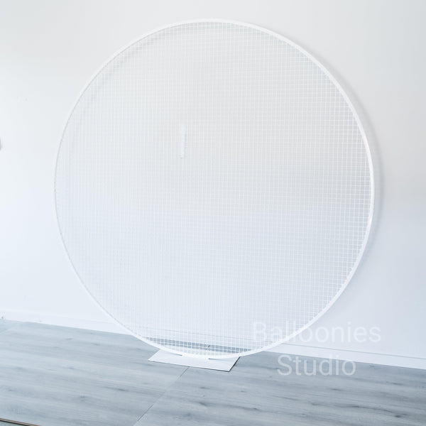 2M White Mesh Circle Backdrop - Balloonies Studio