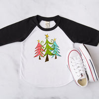 Christmas Trees Black Raglan, Multiple Sizes Available