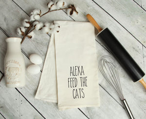 Alexa, feed the cats Kitchen Towel