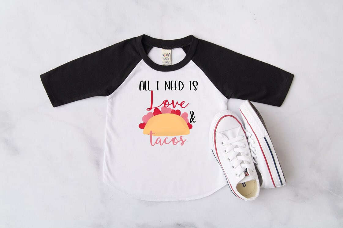 All I Need Is Love And Tacos Black Raglan, Multiple Sizes Available