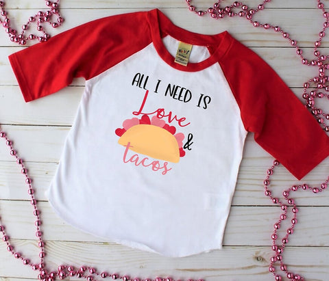 All I Need Is Love And Tacos Red Raglan, Multiple Sizes Available