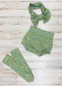 Avocado High Waisted Bummie Set, Bow and Knee highs