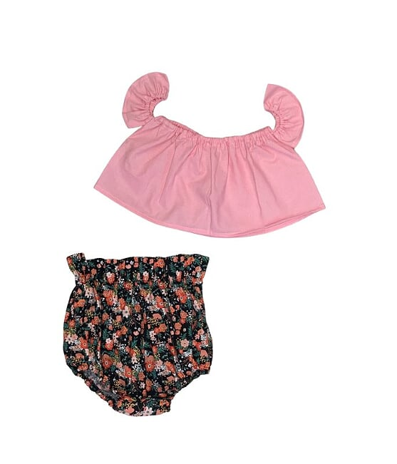 Baby Pink With White Dots Crop Top And Black Floral Bloomers