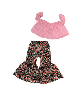 Baby Pink With White Dots Crop Top And Black Floral Ruffle Bell Bottoms