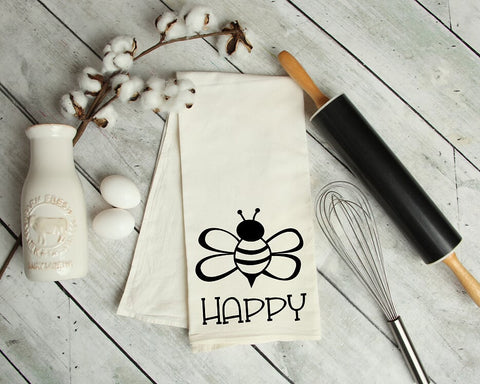 Bee Happy Kitchen Tea Towel