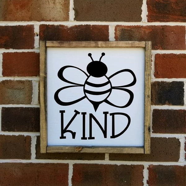 Bee Kind White Square sign