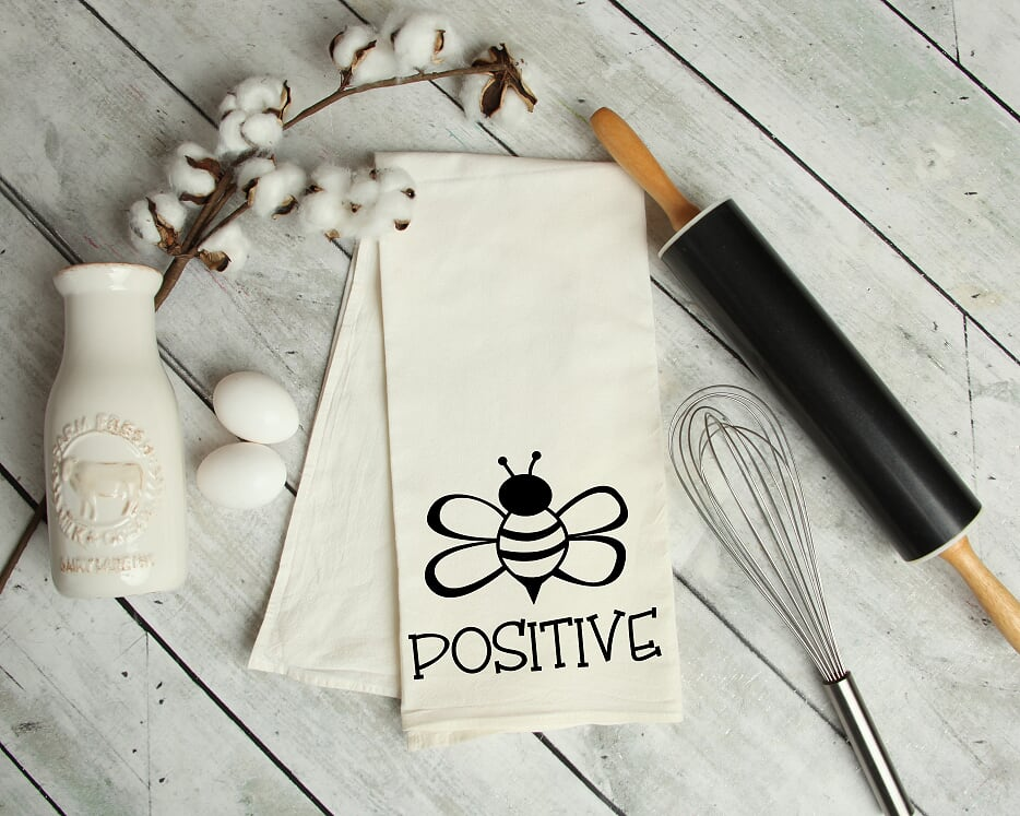Bee Positive Kitchen Tea Towel