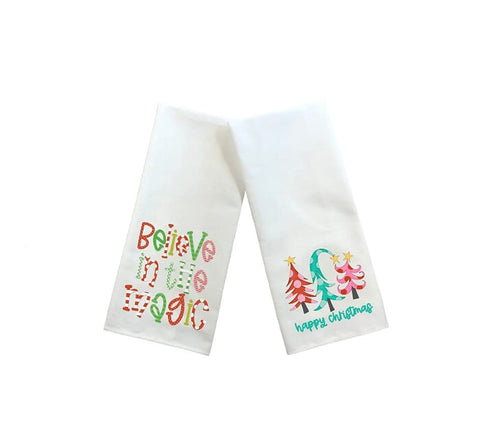 Believe In The Magic And Happy Christmas Kitchen Towels, Set Of Two Towels