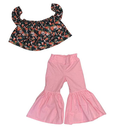 Black Floral Crop Top And Baby Pink With White Dots Bell Bottoms