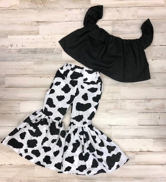 Black Crop Top and Cow Print Bell Bottoms
