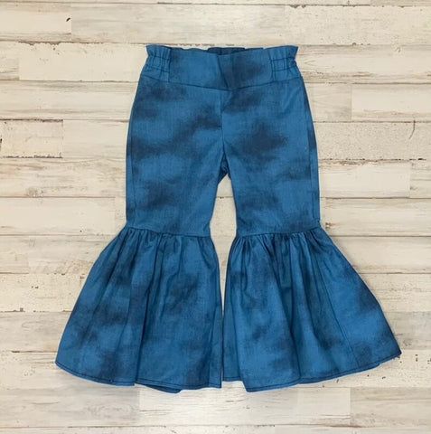 Blue Ruffle Bell Bottoms
