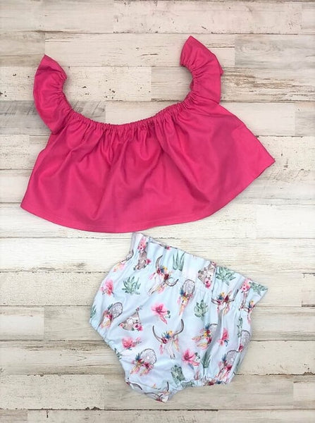 Boho Floral and Hot Pink Crop Top and Bloomers