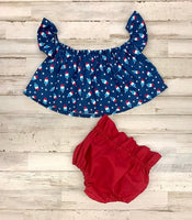 Bomb Pop Crop Top and Red Bloomers