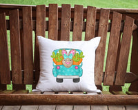 Bunny Truck Throw Pillow