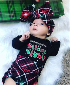 Christmas Plaid High Waisted Bummie Set, Bow and Knee highs