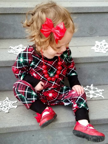 Christmas Plaid Knit Romper