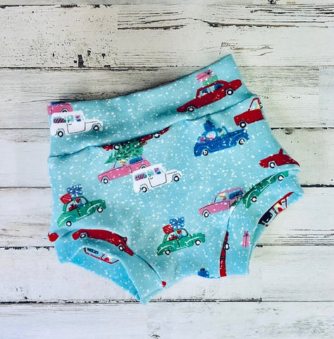 Christmas Cars High Waisted Bummies