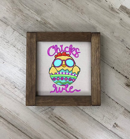 Chicks Rule Square Farmhouse Sign