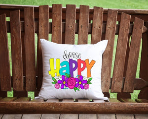 Choose Happy Throw Pillow