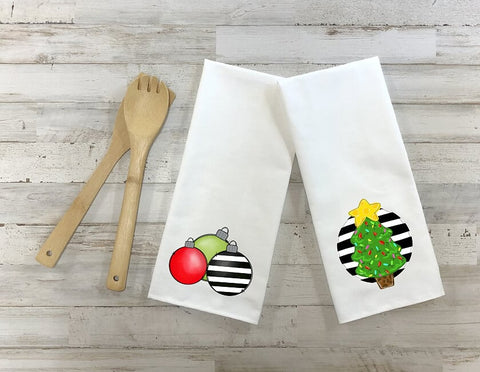 Christmas Tree And Christmas Ornaments Kitchen Towel Set, Set Of Two Towels