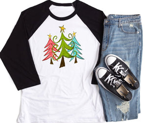 Christmas Trees Black Raglan Shirt