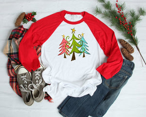 Christmas Trees Red Raglan Shirt