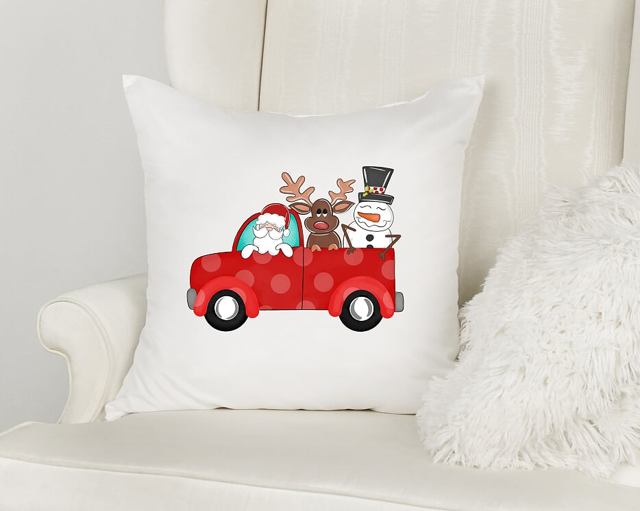 Christmas Truck Trio Throw Pillow