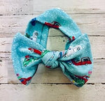 Christmas Cars Headwrap Bow
