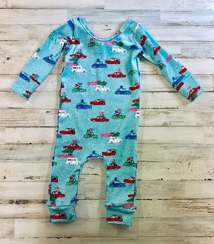 Christmas Cars Knit Romper