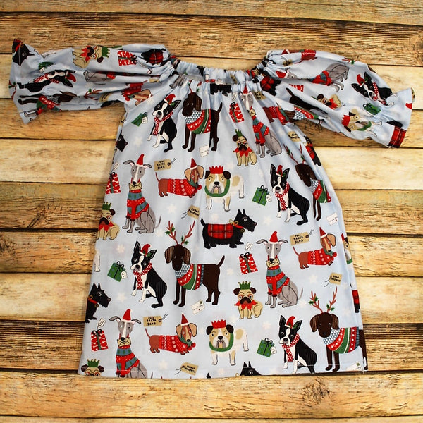 Christmas dogs Peasant dress