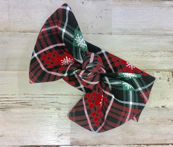Christmas Plaid Headwrap Bow