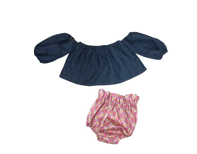 Denim Crop Top and Pink Pumpkins Bloomers