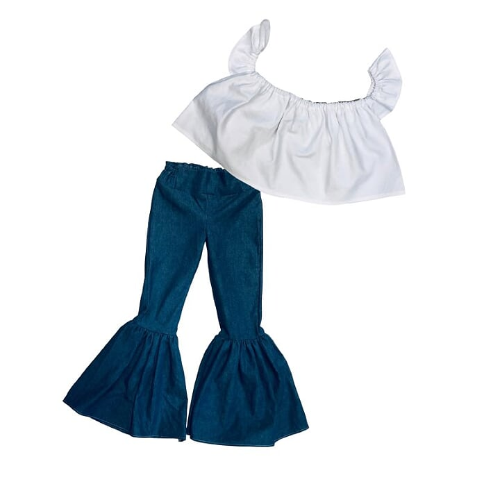 White Crop Top and Denim Ruffle Bell Bottoms