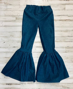 Denim Ruffle Bell Bottoms