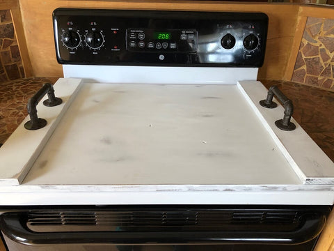 Distressed White Noodle Board, Stove Top Cover