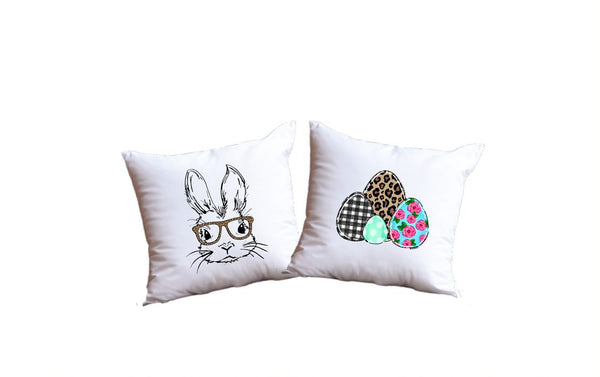Easter Bunny And Easter Eggs Throw Pillow Set