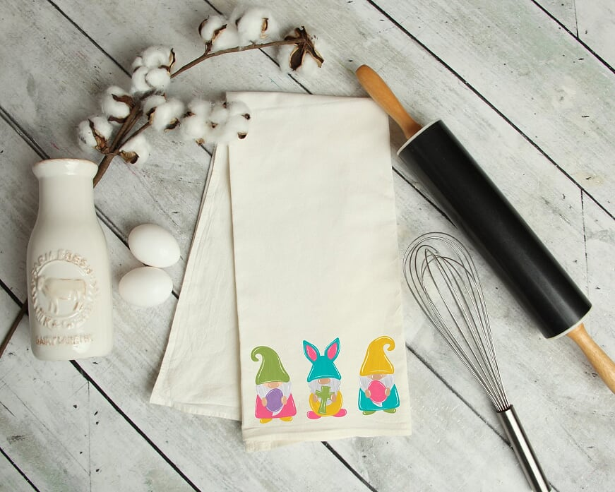 Easter Gnomes Kitchen Tea Towel