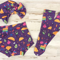 Fiesta High Waisted Bummie Set, Bow and Knee highs