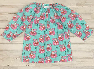 Flamingo Santa Peasant Dress