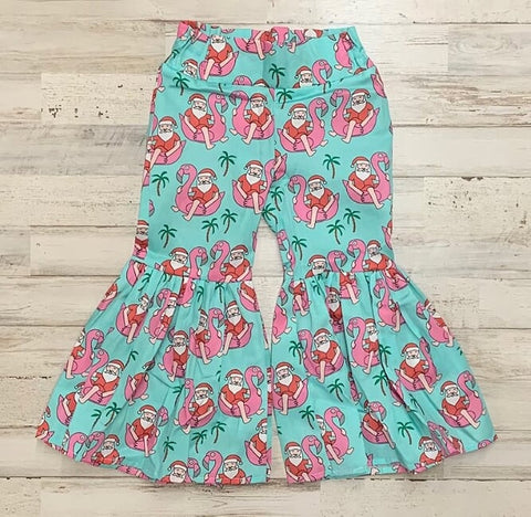 Flamingo Santa Ruffle Bell Bottoms