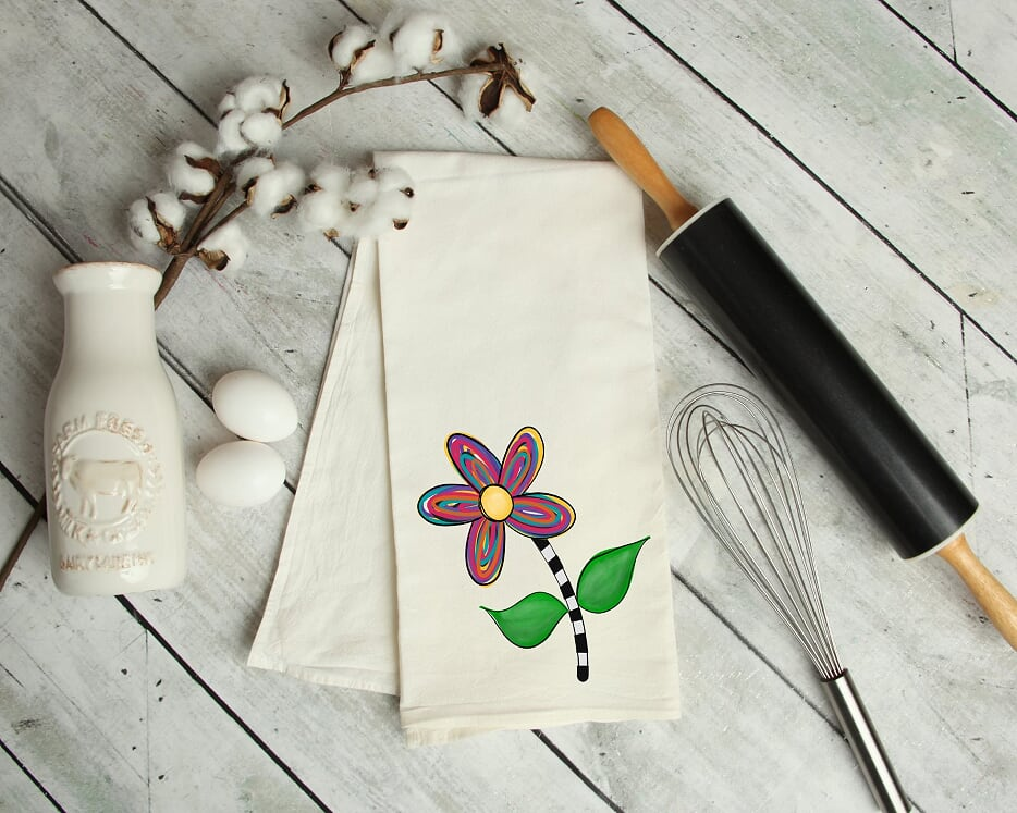 Flower Kitchen Tea Towel