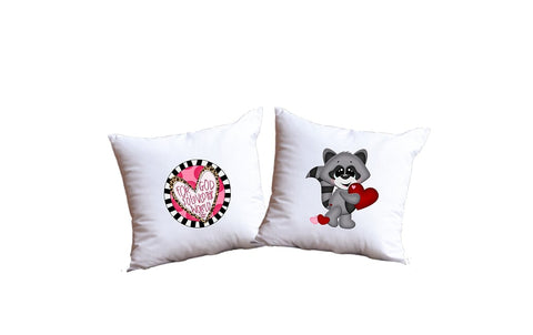 For God So Loved The World And Valentine's Day Raccoon Throw Pillow Set