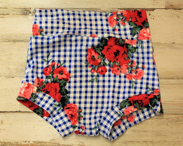 flat lay of gingham floral shorts