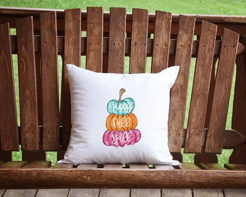Happy Fall Y'all Pumpkin Stack Throw Pillow