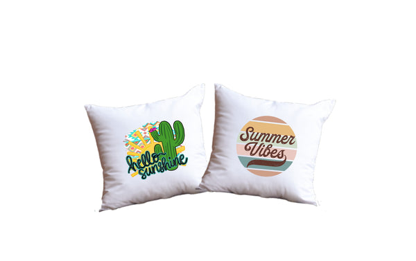 Hello Sunshine And Summer Vibes Throw Pillow Set