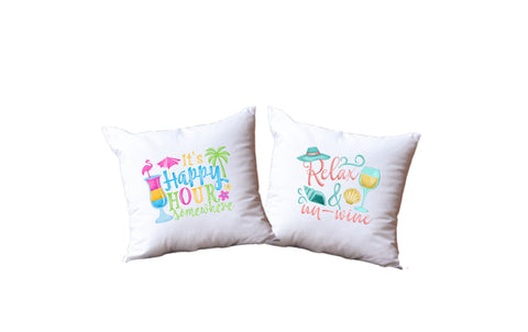 It's Happy Hour Somewhere And Relax And Un-Wine Throw Pillow Set