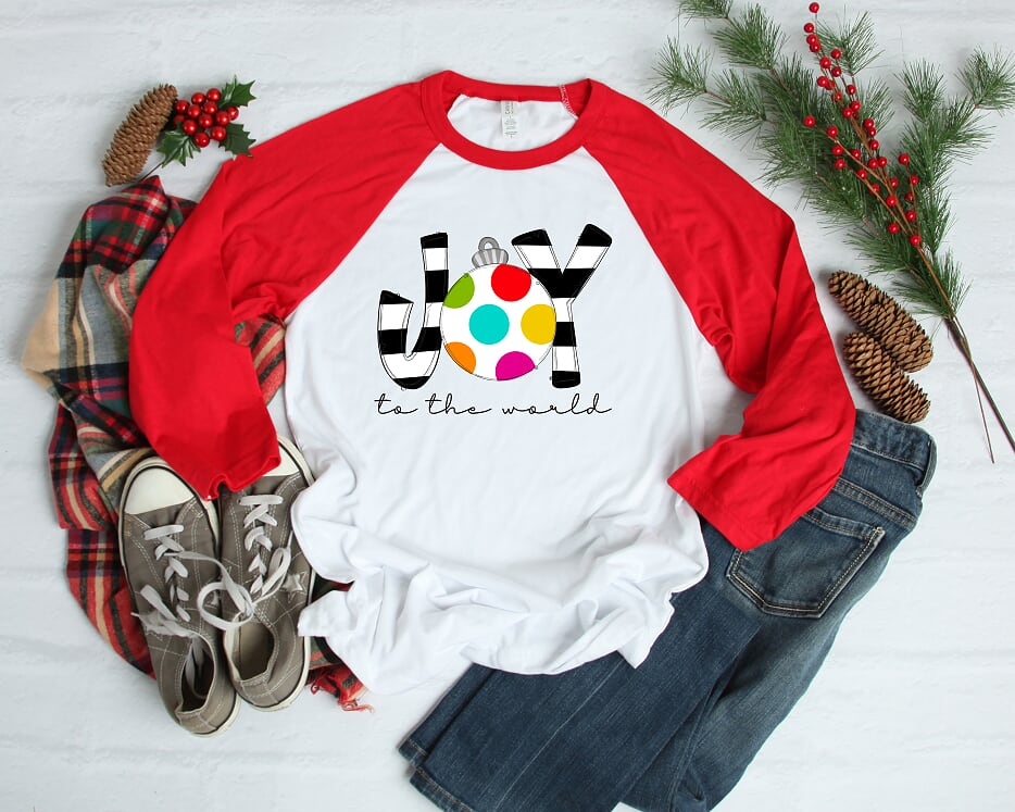 Joy To The World Adult  Raglan Shirt