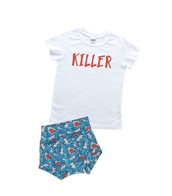 Killer Shark T Shirt And High Waisted Bummies